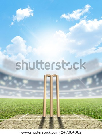 A cricket stadium with cricket pitch and set up wickets in the daytime under a blue sky - stock photo