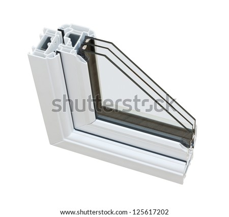 A cross section of triple glazing cut away to show the inner profile and construction quality - stock photo