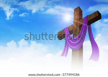 A cross with purple sash on clouds background, for good friday, resurrection, easter, christianity theme - stock photo