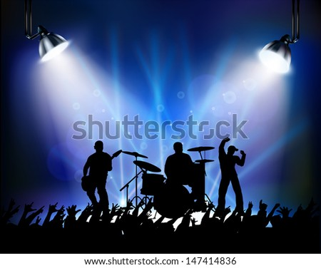 A crowd of at a rock concert - stock photo