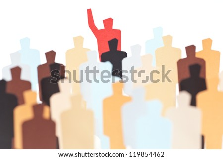 A crowd of diverse people listening to / following the leader - stock photo