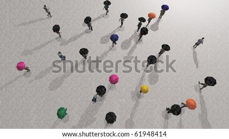 a crowd of people walking in the rain - stock photo
