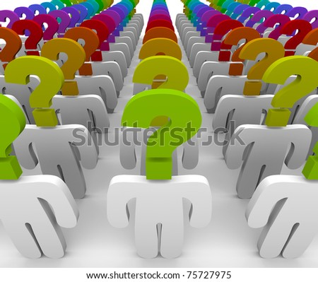 A crowd of people with question mark heads symbolizing wonder and confusion, in need of customer support to answer questions - stock photo