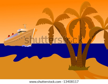 a cruise ship approaching a desert island at sunset. The scene is coloured by the setting sun
