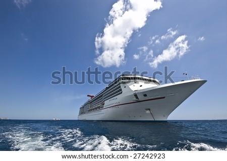 a cruise ship drops its achor in Cabo San Lucas, Mexico - stock photo