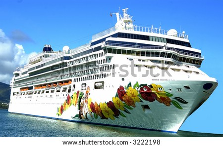 A cruise ship on the Hawaiian waters - stock photo