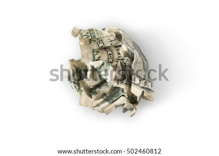 "A crumpled up dollar bill on white with shadow, ""trash"" or ""throwing money away"" concept"