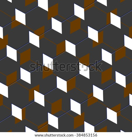 A cubist abstract art box pattern illusion in grey and brown - stock photo