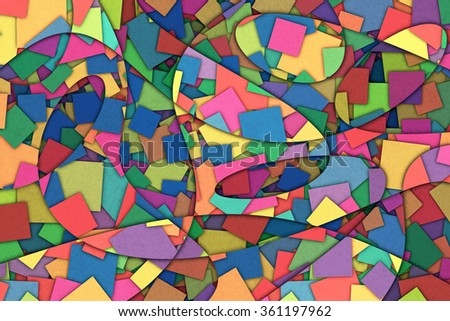 A Cubist Abstract Background with Scattered Squares and Swirling Lines - stock photo