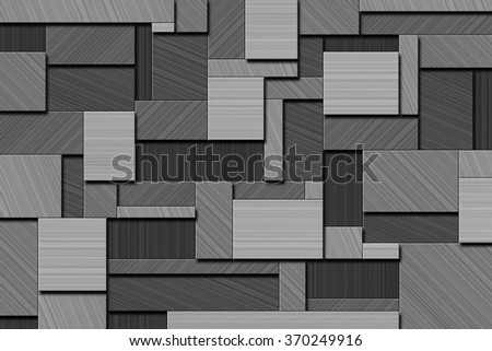 A Cubist Abstract Background with Squares and Brushed Metal Texture - stock photo