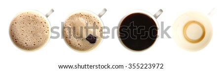 a Cup coffee isolated on white background collage - stock photo