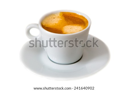 a cup of cofee on saucer isolated - stock photo