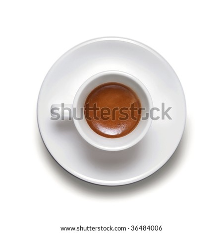 A cup of coffe espresso on white - stock photo