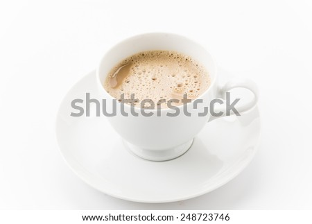 a cup of coffee on white