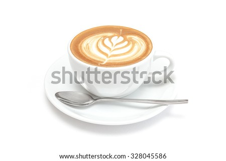 A cup of coffee on white background - stock photo