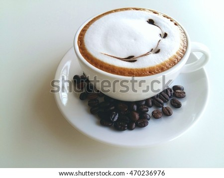 A cup of coffee so delicious on white background