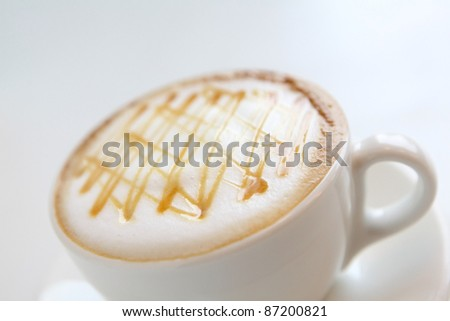 a cup of coffee with beautiful caramel - stock photo