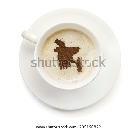 A cup of coffee with foam and powder in the shape of Bangladesh.(series) - stock photo