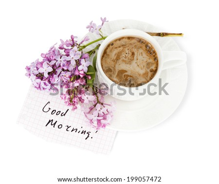 A cup of coffee with milk and Lilac isolated over white. Good morning! - stock photo