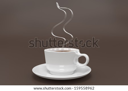 A Cup of Coffee with some smoke above. - stock photo