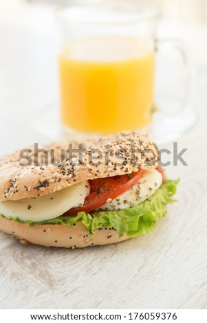 A cup of cuice and mozarella cheese sandwich - stock photo