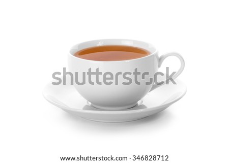 A cup of tea close up, isolated on white background - stock photo