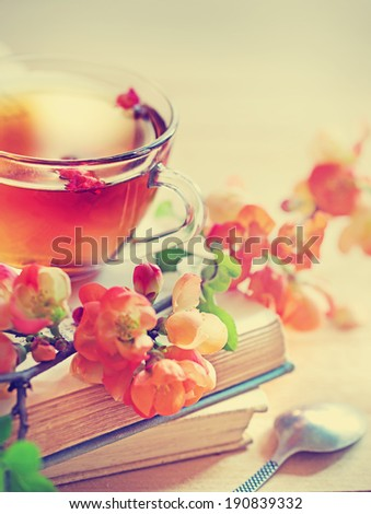 A cup of tea with red  flowers and books - stock photo