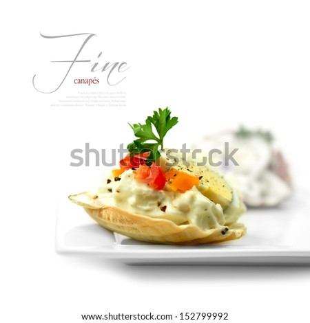 A curated image from my FINE series set. Macro of egg, tomato and mayonnaise canapes against a white background. The perfect image for a restaurant or dinner invitation design. Copy space. - stock photo