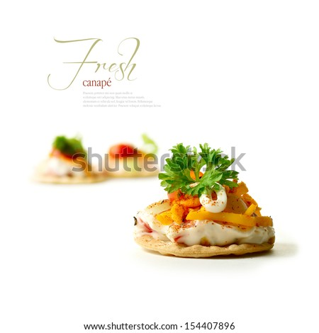 A curated image from my FINE series set. Tomato and mayonnaise canapes with grated chili cheese against a white background. The perfect image for a restaurant or dinner invitation design. Copy space. - stock photo