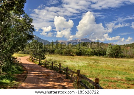 A curving scenic pathway at Garden Of The Gods State Park in Colorado Springs