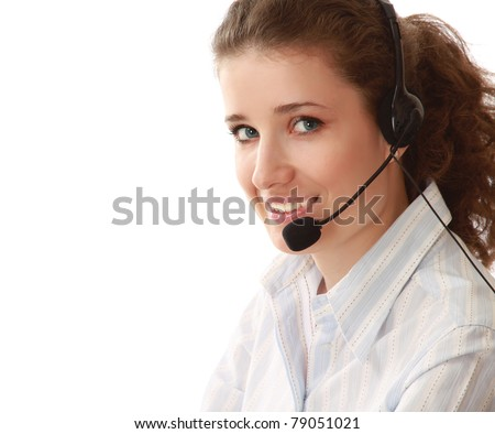 A customer service girl working, side-view - stock photo