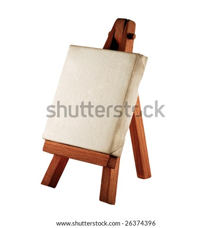 a customizable blank canvas on a wooden tripod