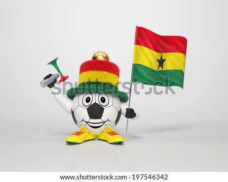 A cute and funny soccer character holding the national flag of Ghana and a horn dressed in the colors of Ghana on bright background supporting his team