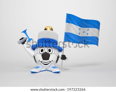 A cute and funny soccer character holding the national flag of Honduras and a horn dressed in the colors of Honduras on bright background supporting his team