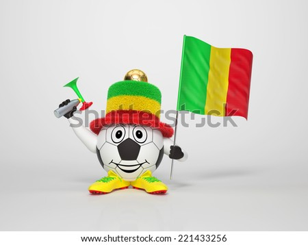 A cute and funny soccer character holding the national flag of Mali and a horn dressed in the colors of Mali on bright background supporting his team - stock photo
