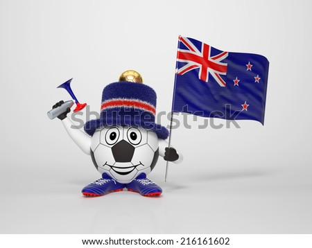 A cute and funny soccer character holding the national flag of New Zealand and a horn dressed in the colors of New Zealand on bright background supporting his team