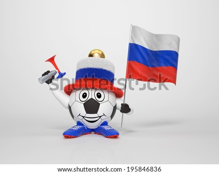 A cute and funny soccer character holding the national flag of Russia and a horn dressed in the colors of Russia on bright background supporting his team