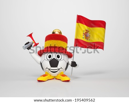 A cute and funny soccer character holding the national flag of Spain and a horn dressed in the colors of Spain on bright background supporting his team