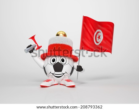 A cute and funny soccer character holding the national flag of Tunisia and a horn dressed in the colors of Tunisia on bright background supporting his team - stock photo