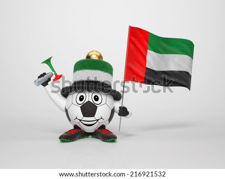 A cute and funny soccer character holding the national flag of United Arab Emirates and a horn dressed in the colors of United Arab Emirates on bright background supporting his team - stock photo