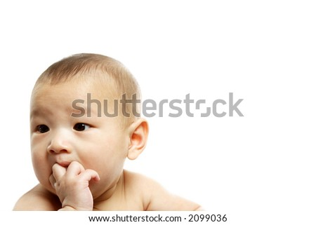 A cute baby boy posing (isolated white) - stock photo