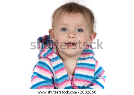 A cute baby smiling on white background