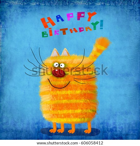 A cute birthday card: a friendly striped yellow cat standing on the beautiful gradient blue background.