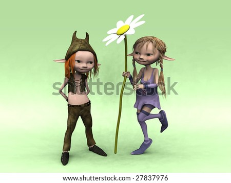 A cute cartoon elf boy and girl. The girl is holding a big flower. - stock photo