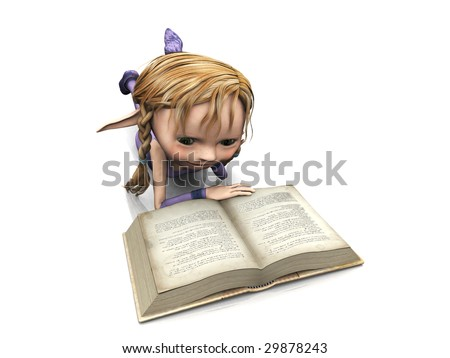 A cute cartoon elf girl with blonde hair reading a book. - stock photo