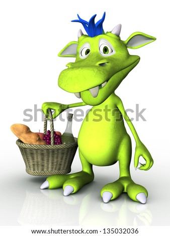 A cute cartoon monster holding a picnic basket in his hand. White background.