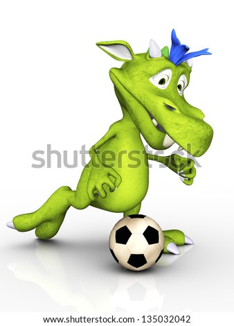 A cute cartoon monster playing soccer. White background.
