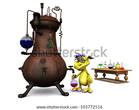 A cute cartoon monster wearing glasses working in his chemistry lab. White background. - stock photo