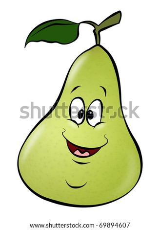 A cute cartoon pear. A healthy addition to any diet. - stock photo