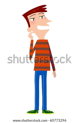 A cute cartoon young man is thinking and talking - stock photo
